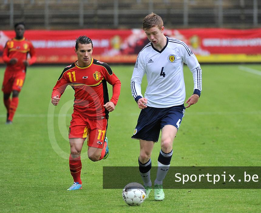 Scotland U19 - Belgium U19 : Stuart Findlay (4) and Jordy Croux (11).foto DAVID CATRY / Nikonpro.be