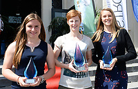 20170604 – OOSTENDE , BELGIUM : Best promising player Davinia Vanmechelen , Best player Lien Mermans and Best goalkeeper Lisa Lichtfus (r) pictured during the 3nd edition of the Sparkle award ceremony , Sunday 4 June 2017 , in Oostende . The Sparkle  is an award for the best female soccer player in the Belgian Superleague and 1st division during the season 2016-2017 comparable to the Golden Shoe or Boot / Gouden Schoen / Soulier D'or for Men in Belgium . PHOTO SPORTPIX.BE | DAVID CATRY