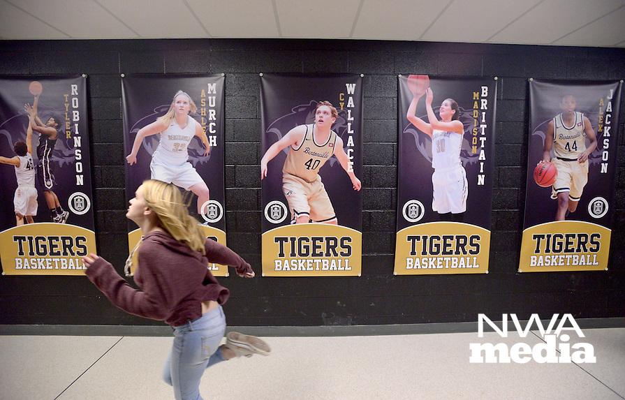 NWA Democrat-Gazette/BEN GOFF @NWABENGOFF<br /> New banners of Bentonville seniors decorate a hallway leading to Tiger Arena on Friday Jan. 15, 2016 at Bentonville High School.