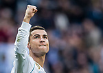 Cristiano Ronaldo of Real Madrid celebrates after scoring a penalty during the La Liga 2017-18 match between Real Madrid and Sevilla FC at Santiago Bernabeu Stadium on 09 December 2017 in Madrid, Spain. Photo by Diego Souto / Power Sport Images