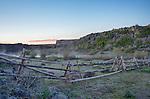 Idaho, South Central, Camas County, Fairfield. Camas Creek steams in the pre-dawn light of spring.