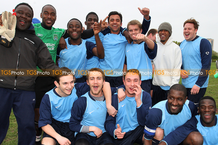 Hatch Lane FC celebrate winning the Division One Title - East London Sunday League Football at South Marsh, Hackney Marshes, London - 06/05/12 - MANDATORY CREDIT: Gavin Ellis/TGSPHOTO - Self billing applies where appropriate - 0845 094 6026 - contact@tgsphoto.co.uk - NO UNPAID USE.