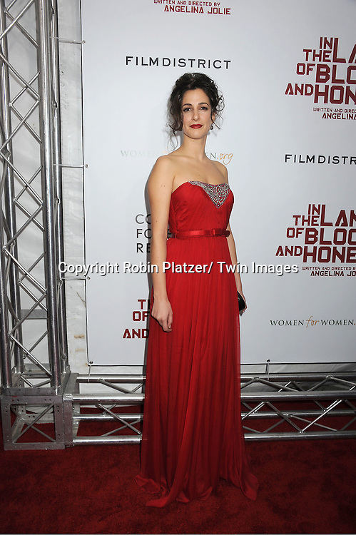 "actress Zana Marjanovic attends The New York Premiere of Angelina Jolie's movie .."" In the Land of Blood and Honey"" on December 5, 2011 at The School of Visual Arts Theatre in New York City."
