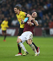 West Ham United's Marko Arnautovic and Watford's Sebastian Prodl<br /> <br /> Photographer Rob Newell/CameraSport<br /> <br /> The Premier League - West Ham United v Watford - Saturday 10th February 2018 - London Stadium - London<br /> <br /> World Copyright &copy; 2018 CameraSport. All rights reserved. 43 Linden Ave. Countesthorpe. Leicester. England. LE8 5PG - Tel: +44 (0) 116 277 4147 - admin@camerasport.com - www.camerasport.com