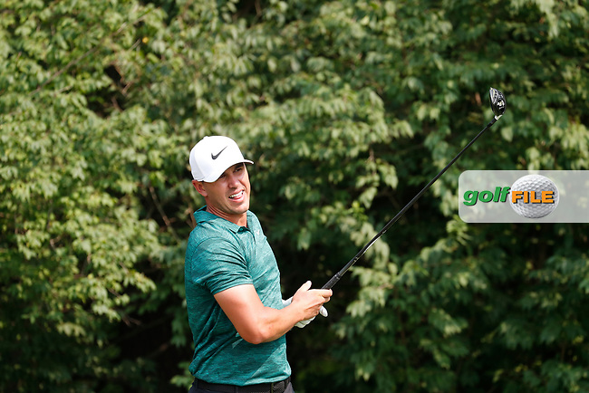 Brooks Koepka (USA) tees off on the 9th hole during the final round of the 100th PGA Championship at Bellerive Country Club, St. Louis, Missouri, USA. 8/12/2018.<br /> Picture: Golffile.ie | Brian Spurlock<br /> <br /> All photo usage must carry mandatory copyright credit (© Golffile | Brian Spurlock)