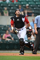 Arkansas Travelers catcher Zach Zaneski (19) watches a foul pop up during a game against the San Antonio Missions on May 24, 2014 at Dickey-Stephens Park in Little Rock, Arkansas.  Arkansas defeated San Antonio 4-2.  (Mike Janes/Four Seam Images)