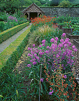 County Cork, Ireland  <br /> Pathway leading through the flower and vegetable beds of Creagh Gardens at Skibberdeen