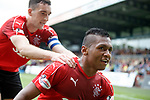 Alfredo Morelos celebrates his opening goal with Lee Wallace