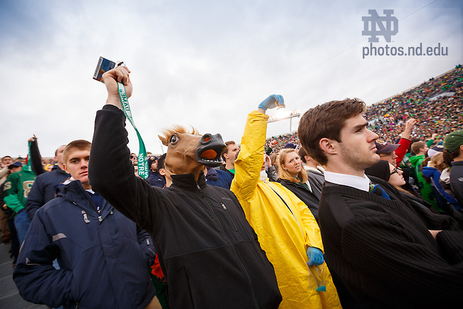 Nov. 2, 2013; Student section of Notre Dame Stadium during the Navy game, 2013.<br /> <br /> Photo by Peter Ringenberg/University of Notre Dame