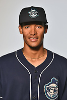 Asheville Tourists pitcher Julian Fernandez (22) poses for a photo at Story Point Media on April 4, 2017 in Asheville, North Carolina. (Tony Farlow/Four Seam Images)