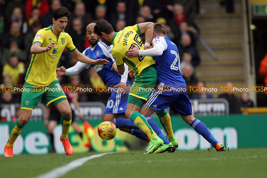Freddie Sears of Ipswich Town challenges Ivo Pinto of Norwich City for the ball during Norwich City vs Ipswich Town, Sky Bet EFL Championship Football at Carrow Road on 26th February 2017