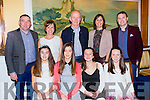 Iveragh athletes and their families at the Kerry AA awards in the Dromhall Hotel on Saturday night front row l-r: Rachel Dwyer, Laura Dwyer, Abbie Daly and Maeve Daly. back row: John Daly, Susan Daly, Lorcan Murphy, Michelle and Denis Dwyer