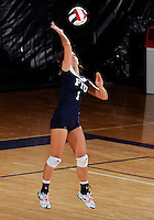 FIU middle blocker Andrea Lakovic (1) plays against Western Kentucky in the semi-finals of the Sunbelt Conference Volleyball Tournament.  Western Kentucky won the match 3-0 on November 18, 2011 at Miami, Florida. .