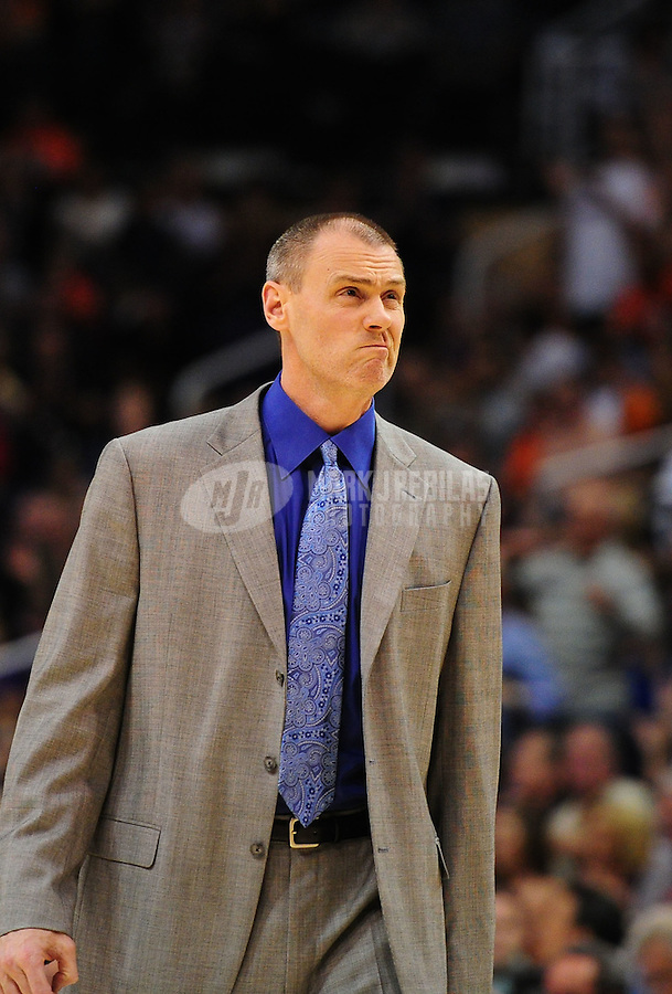 Mar. 27, 2011; Phoenix, AZ, USA; Dallas Mavericks head coach Rick Carlisle against the Phoenix Suns at the US Airways Center. The Maverick defeated the Suns 91-83. Mandatory Credit: Mark J. Rebilas-