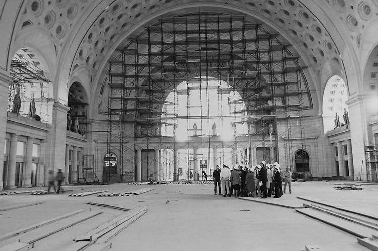 Construction at the interior of the Washington Union Station. (Photo by Adele Starr/CQ Roll Call via Getty Images)