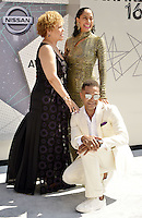 LOS ANGELES, CA - JUNE 26: Debra Lee, Tracee Ellis Ross, Maxwell at the 2016 BET Awards at the Microsoft Theater on June 26, 2016 in Los Angeles, California. Credit: Koi Sojer/MediaPunch
