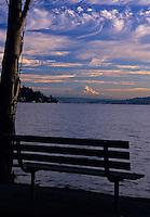 A silhouetted park bench on Lake Washington with a view of Mt. Rainier. Seward Park, Seattle, Washington.