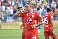 MONTERIA - COLOMBIA, 29-01-2020: Michael Rangel de America celebra después de anotar el primer gol de su equipo durante el partido por la fecha 2 Liga BetPlay DIMAYOR I 2020 entre Jaguares de Córdoba F.C. y América de Cali jugado en el estadio Jaraguay de la ciudad de Montería / Michael Rangel of America celebrates after scoring the first goal of his team during match for the date 2 BetPlay DIMAYOR League I 2020 between Jaguares de Cordoba F.C. and America de Cali played at Jaraguay stadium in Monteria city. Photo: VizzorImage / Andres Felipe Lopez / Cont