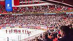 Stockholm 2014-09-17 Ishockey SHL Djurg&aring;rdens IF - Leksands IF :  <br /> Djurg&aring;rdens spelare jublar med Djurg&aring;rdens supportrar efter matchen och segern &ouml;ver Leksand<br /> (Foto: Kenta J&ouml;nsson) Nyckelord:  Djurg&aring;rden DIF Hockey Globen Ericsson Globe Arena SHL Leksand LIF jubel gl&auml;dje lycka glad happy supporter fans publik supporters