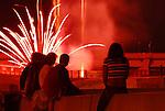 Spectators watch the fireworks in Williamsport.