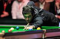 Ronnie O'Sullivan pots the blue during the Dafabet Masters FINAL between Barry Hawkins and Ronnie O'Sullivan at Alexandra Palace, London, England on 17 January 2016. Photo by Liam Smith / PRiME Media Images