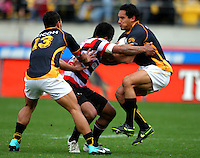 Wellington's Hosea Gear bounces off a tackle. ITM Cup - Wellington Lions v Counties-Manukau Steelers at Westpac Stadium, Wellington, New Zealand on Sunday, 8 August 2010. Photo: Dave Lintott/lintottphoto.co.nz.