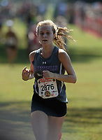 NWA Democrat-Gazette/ANDY SHUPE<br /> Fayetteville's Grace Litzinger nears the finish line Saturday, Oct. 5, 2019, during the Chile Pepper Cross Country Festival at Agri Park in Fayetteville. Visit nwadg.com/photos to see more photographs from the races.