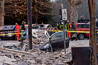 Rome, Italy. 22th January 2016<br /> Car destroyed during the appartment building that collapsed. People were evacuated after a resident heard strange noises and raised the alarm before the building collapsed. There is no victims and an investigation is under way.