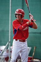 GCL Phillies center fielder Mickey Moniak (15) warms up in between innings during a game against the GCL Braves on August 3, 2016 at the Carpenter Complex in Clearwater, Florida.  GCL Phillies defeated the GCL Braves 4-3 in a six inning rain shortened game.  (Mike Janes/Four Seam Images)