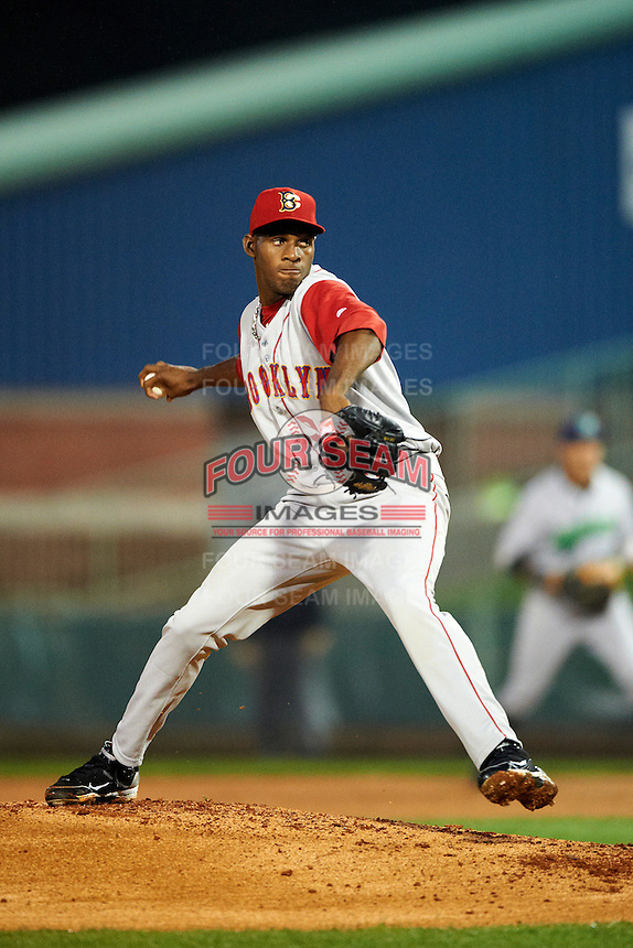 Brooklyn Cyclones pitcher Luis Mateo #34 during the NY-Penn League All-Star Game at Eastwood Field on August 14, 2012 in Niles, Ohio.  National League defeated the American League 8-1.  (Mike Janes/Four Seam Images)