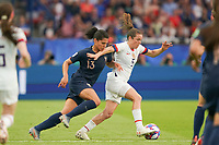 PARIS, FRANCE - JUNE 28: Valérie Gauvin #13, Kelley O'Hara #5 during a 2019 FIFA Women's World Cup France quarter-final match between France and the United States at Parc des Princes on June 28, 2019 in Paris, France.