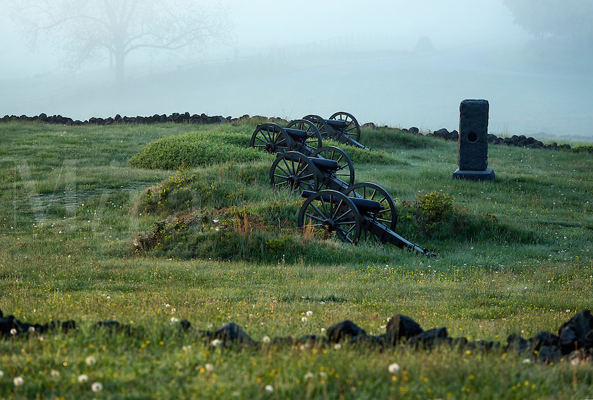 Cannons on Cemetery Hill battlefield, Gettysburg National Military Park, Pennsylvania, USA