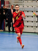 20200201 Herentals , BELGIUM :  Belgium's  Rafael Bruno Teixeira (15) does a thumbs up during a futsal indoor soccer game between the Belgian Futsal Devils of Belgium and Montenegro on the third and last matchday in group B of the UEFA Futsal Euro 2022 Qualifying or preliminary round , Saturday 1st February 2020 at the Sport Vlaanderen sports hall in Herentals , Belgium . PHOTO SPORTPIX.BE | Sevil Oktem