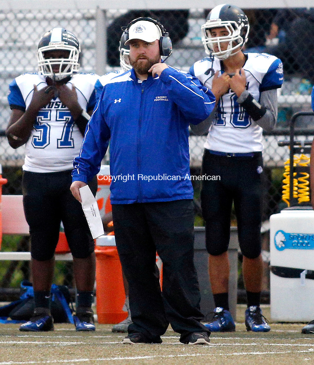 Waterbury, CT- 01 October 2015-100115CM03- Crosby football head coach, David Jurewicz  during a game against Sacred Heart/Kaynor in Waterbury on Thursday.    Christopher Massa Republican-American