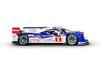 Denso Toyota Hybrid TS040 race car side view isolated on white background with clipping path