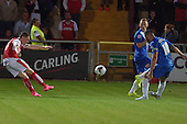 11/08/2015 Capital One Cup, First Round Fleetwood Town v Hartlepool United<br /> Declan McManus shot on goal