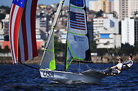 RIO DE JANEIRO, BRAZIL - AUGUST 13:  Thomas Barrows (helm) of the United States and Joe Morris of the United States compete in the Men's 49er class on Day 8 of the Rio 2016 Olympic Games at the Marina da Gloria on August 13, 2016 in Rio de Janeiro, Brazil.  (Photo by Laurence Griffiths/Getty Images)