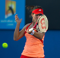 LAURA ROBSON (GBR) against JELENA JANKOVIC (SRB) in the first round of the Women's Singles. Jelena Jankovic beat Laura Robson 6-2 6-0...16/01/2012, 16th January 2012, 16.01.2012..The Australian Open, Melbourne Park, Melbourne,Victoria, Australia.@AMN IMAGES, Frey, Advantage Media Network, 30, Cleveland Street, London, W1T 4JD .Tel - +44 208 947 0100..email - mfrey@advantagemedianet.com..www.amnimages.photoshelter.com.