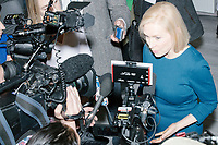 Democratic presidential candidate Senator Kirsten Gillibrand (D-NY) speaks to the media during an availability after a town hall campaign event at the Concord Parks and Recreation Community Center in Concord, New Hampshire, USA on Sat., Apr. 6, 2019.