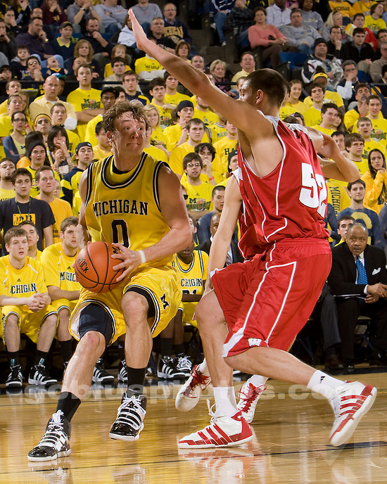 University of Michigan men's basketball vs Wisconsin at Crisler Arena on 2/6/10.