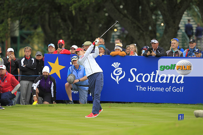 Nelly Korda of Team USA on the 11th tee during Day 1 Fourball at the Solheim Cup 2019, Gleneagles Golf CLub, Auchterarder, Perthshire, Scotland. 13/09/2019.<br /> Picture Thos Caffrey / Golffile.ie<br /> <br /> All photo usage must carry mandatory copyright credit (© Golffile   Thos Caffrey)