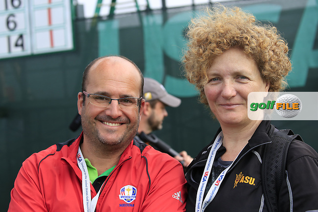 Alejandro from Ten-Golf ES with Jon Rahm's (AM)(ESP) mother Angela watch the action at the 9th green during Friday's Round 1 of the 2016 U.S. Open Championship held at Oakmont Country Club, Oakmont, Pittsburgh, Pennsylvania, United States of America. 17th June 2016.<br /> Picture: Eoin Clarke | Golffile<br /> <br /> <br /> All photos usage must carry mandatory copyright credit (&copy; Golffile | Eoin Clarke)