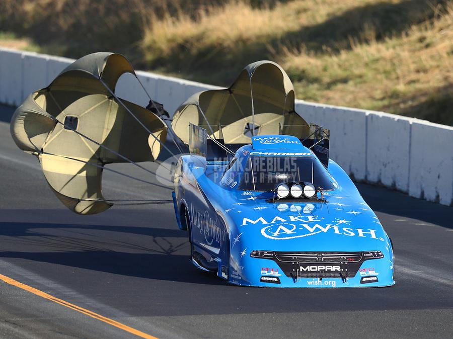 Jul 29, 2017; Sonoma, CA, USA; NHRA funny car driver Tommy Johnson Jr during qualifying for the Sonoma Nationals at Sonoma Raceway. Mandatory Credit: Mark J. Rebilas-USA TODAY Sports