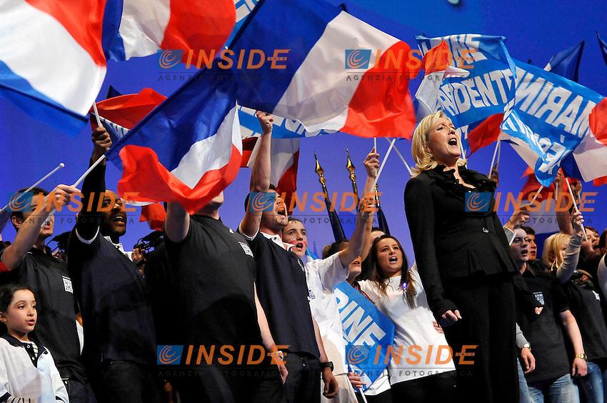 Marine Le Pen.Parigi 17/4/2012 Zenith.Campagna elettorale Elezioni Presidenziali Francia 2012.Foto Insidefoto / Gerard Roussel / Panoramic.ITALY ONLY