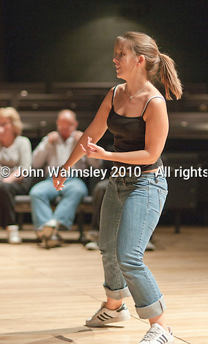 """Choreographer, Hannah Greenslade, leading rehearsals.  Special Olympics Surrey put on a show,   """"Beyond the Stars"""", at the Rose Theatre, Kingston upon Thames to raise money for the  SOGB team.  The Special Olympics are for athletes with learning disabilities."""