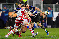 David Sisi of Bath Rugby offloads the ball. Anglo-Welsh Cup match, between Bath Rugby and Gloucester Rugby on January 27, 2017 at the Recreation Ground in Bath, England. Photo by: Patrick Khachfe / Onside Images