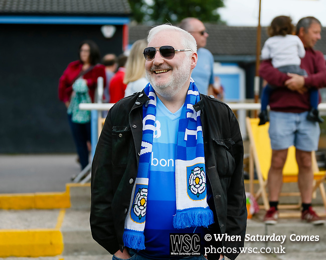 A happy Yorkshire fan at full time. Yorkshire v Parishes of Jersey, CONIFA Heritage Cup, Ingfield Stadium, Ossett. Yorkshire's first competitive game. The Yorkshire International Football Association was formed in 2017 and accepted by CONIFA in 2018. Their first competative fixture saw them host Parishes of Jersey in the Heritage Cup at Ingfield stadium in Ossett. Yorkshire won 1-0 with a 93 minute goal in front of 521 people. Photo by Paul Thompson