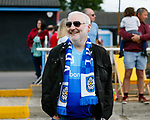 A happy Yorkshire fan at full time. Yorkshire v Parishes of Jersey, CONIFA Heritage Cup, Ingfield Stadium, Ossett. Yorkshire's first competitive game. The Yorkshire International Football Association was formed in 2017 and accepted by CONIFA in 2018. Their first competative fixture saw them host Parishes of Jersey in the Heritage Cup at Ingfield stadium in Ossett. Yorkshire won 1-0 with a 93 minute goal in front of 521 people.
