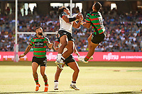 Solomone Kata of the NZ Warriors, Rabbitohs v Vodafone Warriors, NRL rugby league premiership. Optus Stadium, Perth, Western Australia. 10 March 2018. Copyright Image: Daniel Carson / www.photosport.nz