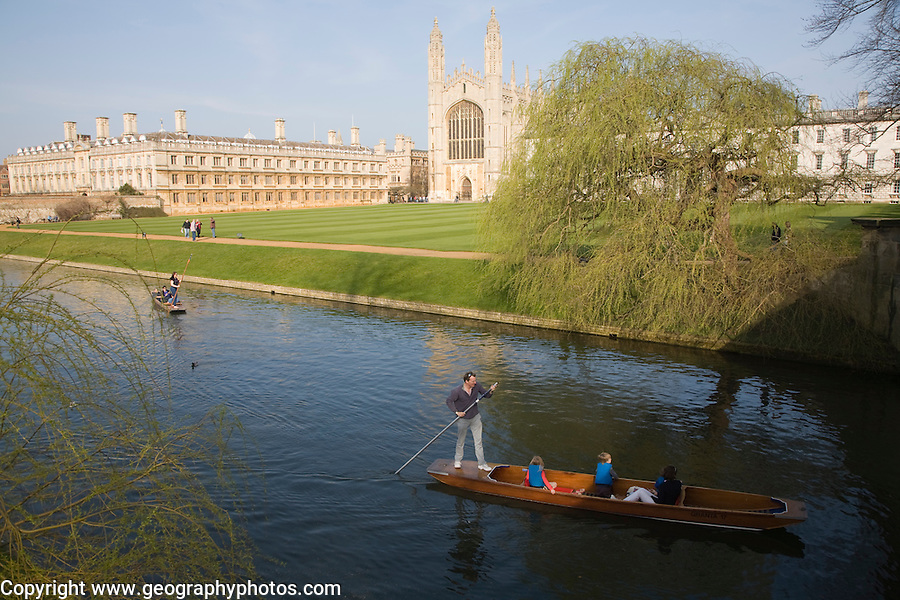 Punting on the river Cam, King's College, Cambridge university, Cambridgeshire, England